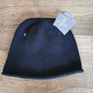 Gelso Bianco Italian Cashmere Black Toque Hat NWT
